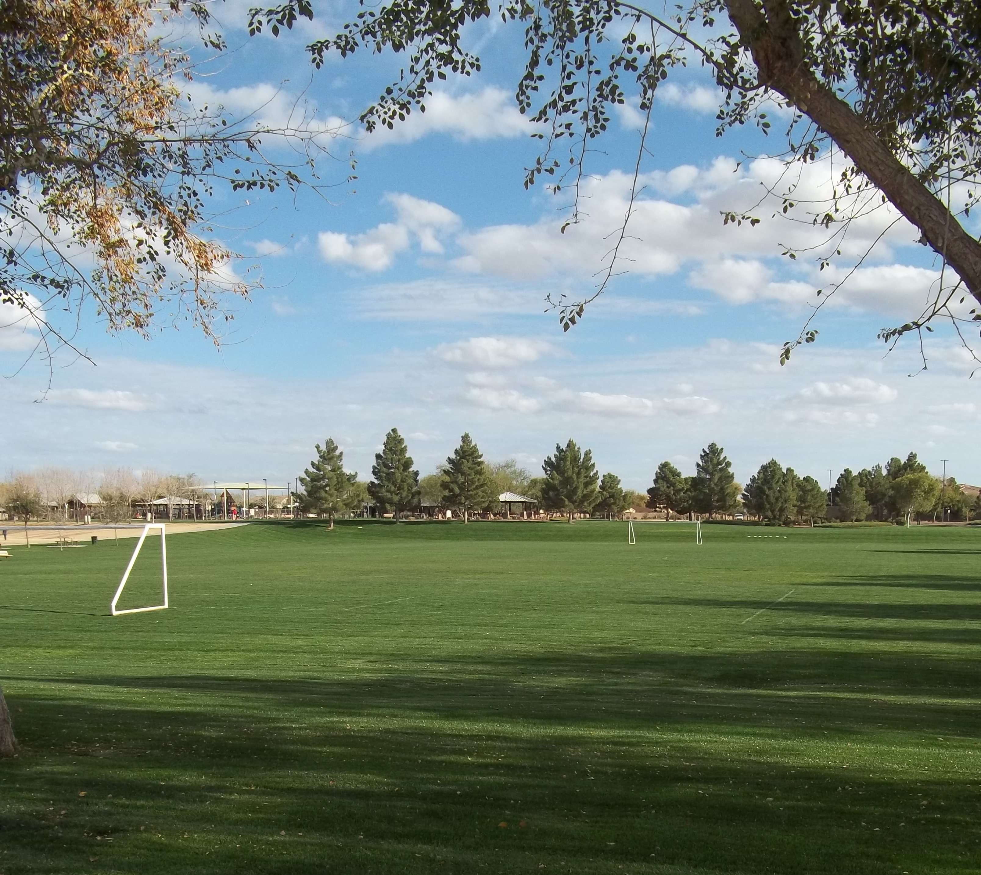 Wide Soccer Field with Two White Goal Nets